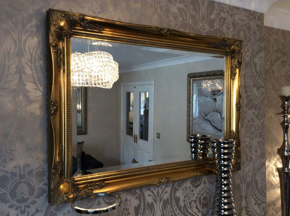 NEW Antique Gold Shabby Chic Framed Ornate Overmantle Mirror ...